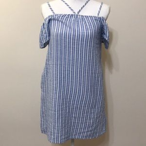 Blue Striped Shoulder Dress from Lush